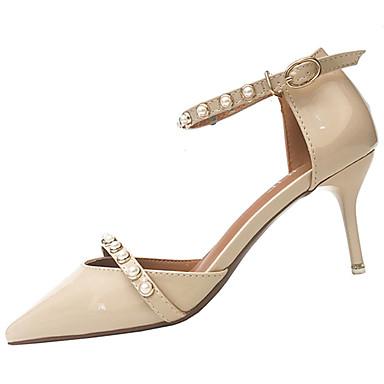 Damen Schuhe PU Sommer Komfort Sandalen Walking Stöckelabsatz Spitze Zehe Perlenstickerei für Normal Rosa Mandelfarben