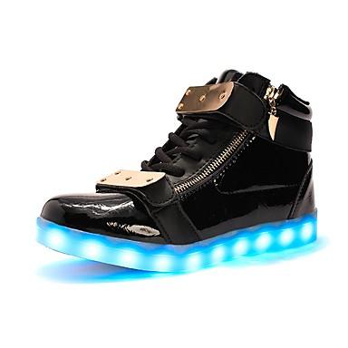 Női Cipő TPU Ősz Tél Világító cipők Könnyű talpak Tornacipők Alacsony Kerek orrú LED mert Szabadtéri Party és Estélyi Fehér Fekete