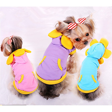 Dog Sweatshirt Dog Clothes Solid Colored Purple / Blue / Pink Cotton Costume For Pets Men's / Women's Casual / Daily