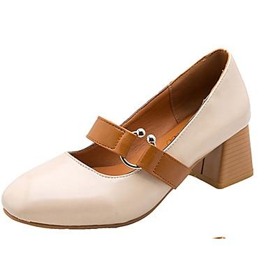 Damen Schuhe PU Frühling Sommer Komfort Sandalen Niedriger Heel für Normal Schwarz Beige Dunkelbraun
