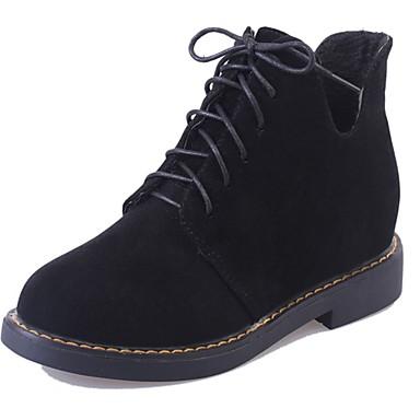 Damen Schuhe Wildleder Winter Komfort Stiefel Walking Niedriger Heel Runde Zehe Schnürsenkel für Schwarz / Armeegrün