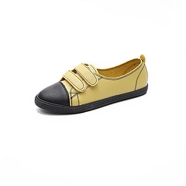 Damen Sneaker Komfort PU Frühling Sommer Normal Kleid Klettverschluss Flacher Absatz Weiß Gelb 2,5 - 4,5 cm
