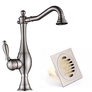 Fürdőszoba mosogató csaptelep - Széleskörű Nikkel bevonatos Három lyukas Egy fogantyú egy lyukkal