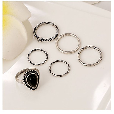 Women's Obsidian Geometric Couple Rings - Heart Classic, Bohemian, Punk One Size Silver For Evening Party Stage Street / 6pcs