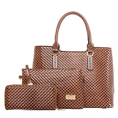 Damen Taschen PU Bag Set 3 Stück Geldbörse Set für Normal Ganzjährig Blau Schwarz Gelb Fuchsia Kamel
