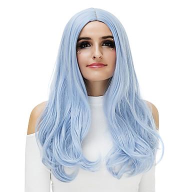 Syntetiska peruker Naturligt vågigt Syntetiskt hår Blå / Blond / Rosa Peruk Dam Naturlig peruk / Partyperuk / Halloween Paryk Utan lock