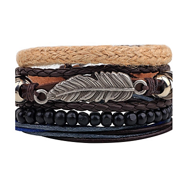 Men's Women's Strand Bracelet Wrap Bracelet Leather Bracelet - Leather Feather Personalized, Vintage Bracelet Black For Daily Stage Street