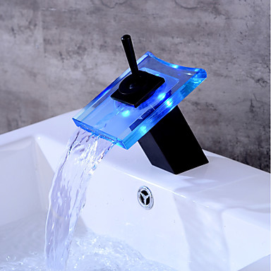 Bathroom Sink Faucet - Waterfall Oil-rubbed Bronze Centerset One Hole LED
