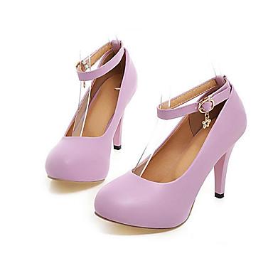 Damen Schuhe PU Frühling Sommer Komfort High Heels Für Normal Weiß Schwarz Purpur Blau Leicht Rosa