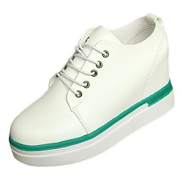 Damen Schuhe PU Sommer Komfort Sneakers Plattform Runde Zehe Schnürsenkel für Normal Weiß Schwarz