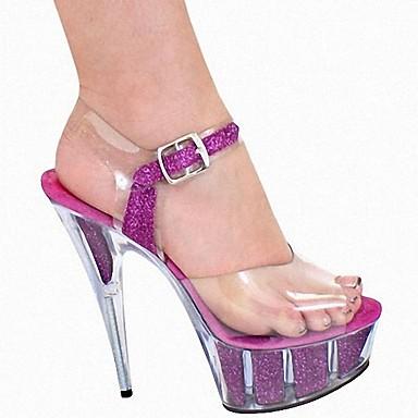 ouvert formelles Brillante Chaussures Fuchsia Paillette Boucle 06153106 Paillette Bout Femme Sandales Brillante Eté Aiguille Chaussures Talon Fn1va