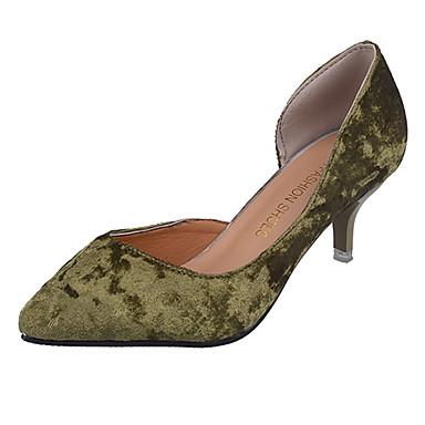 Damen Schuhe PU Frühling Sommer Pumps Komfort High Heels Niedriger Heel Spitze Zehe für Büro & Karriere Kleid Schwarz Grün Mandelfarben