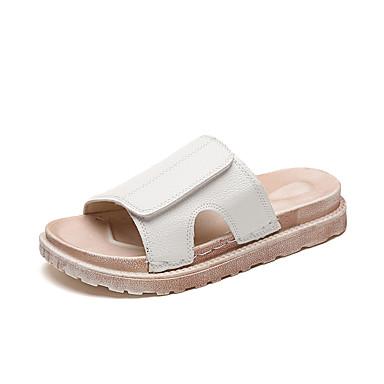 Damen Sandalen Komfort Sommer Gummi Walking Schnalle Block Ferse Weiß Beige Unter 2,5 cm
