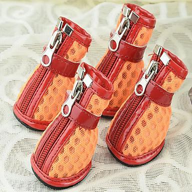 Hund Schuhe und Stiefel Lässig / Alltäglich Wasserdicht Solide Orange Gelb Fuchsia Für Haustiere