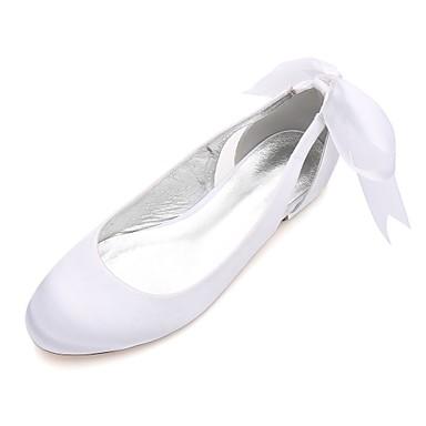 Női Cipő Szatén Tavasz / Nyár Kényelmes / Balerinacipő Esküvői cipők Lapos Kerek orrú Csokor / Szatén virág / Virág Kék / Világosbarna /