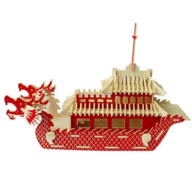 3D építőjátékok Fejtörő Wood Model Hadihajó Hajó DIY Fa Uniszex Ajándék
