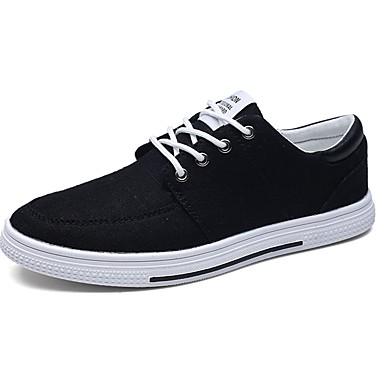 Herren Sneaker Komfort PU Frühling Herbst Normal Schnürsenkel Flacher Absatz Schwarz Grau Blau Flach