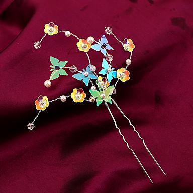 Gyöngyutánzat Műanyag Ötvözet Virágok Hair Pin Hair Tool 1 Esküvő Különleges alkalom Születésnap Party / estély Sisak