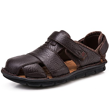 Men's Nappa Leather Summer / Fall Comfort Sandals Upstream Shoes Coffee