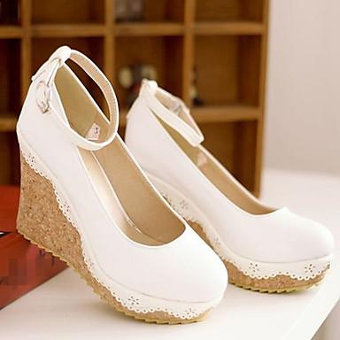 Damen Schuhe Nubukleder PU Frühling Komfort High Heels Für Normal Weiß Blau Leicht Rosa
