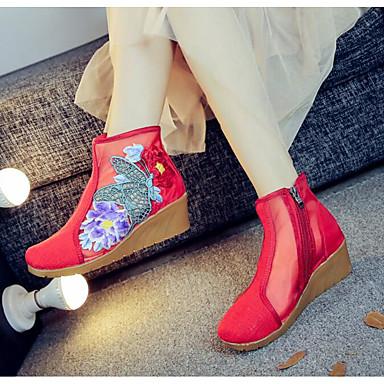 Damen Schuhe Leinwand Sommer Komfort Stiefel Für Normal Schwarz Rot