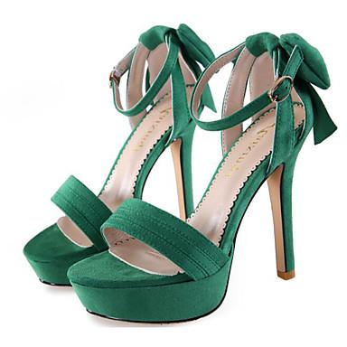 Damen Schuhe Nubukleder Frühling Sommer Komfort High Heels Für Normal Schwarz Grün Rosa