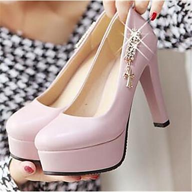 Damen Schuhe PU Herbst Komfort High Heels Für Normal Schwarz Rosa