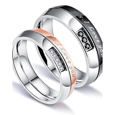 voordelige Herensieraden-Heren Ringen voor stelletjes Bandring Groefringen Zirkonia Wit Titanium Staal Cirkelvorm Luxe Klassiek Liefde Feest Verjaardag Sieraden