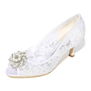 Női Cipő Csipke Tüll Tavasz Nyár Magasított talpú Esküvői cipők Tűsarok Köröm Strasszkő Gyöngy mert Esküvő Party és Estélyi Fehér Fekete