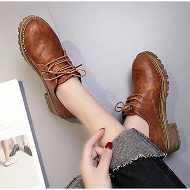 Damen Schuhe Echtes Leder PU Winter Komfort Springerstiefel Stiefel für Normal Schwarz Braun Khaki