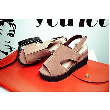 Damen Schuhe PU Sommer Komfort Flache Schuhe Für Normal Schwarz Grau Rot Mandelfarben