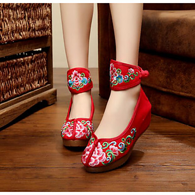Damen Schuhe Leinwand Frühling Sommer Komfort Flache Schuhe Flacher Absatz Für Normal Schwarz Beige Rot