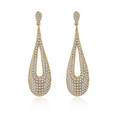 Női Luxus Kocka cirkónia / Strassz Cirkonium / Kocka cirkónia / Arannyal bevont Beszúrós fülbevalók / Függők / Francia kapcsos fülbevalók