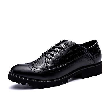 Férfi cipő Bőr Tél Ősz Kényelmes Félcipők Fűző mert Hétköznapi Hivatal és karrier Party és Estélyi Fekete Fekete/Vörös