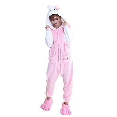 Kigurumi pizsama papuccsal Cat Onesie pizsama Jelmez Φανελένιο Ύφασμα Cosplay mert Felnőttek Allati Hálóruházat Rajzfilm Halloween