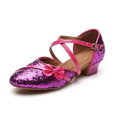 Damen Schuhe für den lateinamerikanischen Tanz Kunstleder Volle Sole Blockabsatz Tanzschuhe Gold / Silber / Fuchsia / Leder / Praxis