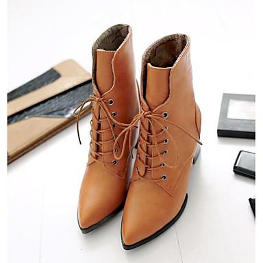 Damen Schuhe Echtes Leder PU Winter Komfort Pumps Stiefel Für Normal Schwarz Gelb Burgund