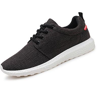 Herrn Schuhe Leinen Frühling Herbst Komfort Sneakers Schnürsenkel für Normal Draussen Weiß Schwarz Beige