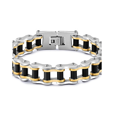 Men's AAA Cubic Zirconia Chain Bracelet - Cubic Zirconia, Titanium Steel, Gold Plated Star Punk, Rock, Gothic Bracelet White For Gift Evening Party Street