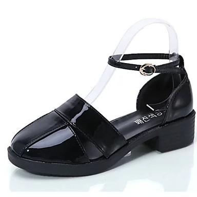 Damen Sandalen Komfort Sommer Gummi Walking Schnalle Niedriger Absatz Weiß Schwarz Silber Grau Purpur Unter 2,5 cm