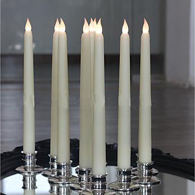 10 قطع العاج 11 بوصة طويل القامة عديمة اللهب عديمة اللهب تفتق الشموع الشمع النهاية الدافئة الأبيض المصابيح اليقظة جمع بطاريات غير المدرجة