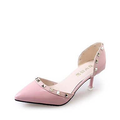 Damen Schuhe Echtes Leder PU Sommer Komfort Pumps High Heels Für Normal Schwarz Grau Rot Rosa
