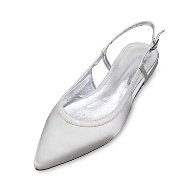Women's Shoes Satin Spring / Summer Comfort / Ballerina / D'Orsay & Two-Piece Wedding Shoes Flat Heel Pointed Toe Ribbon Tie Blue /