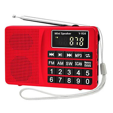 Y-916 FM / AM Hordozható rádió MP3 lejátszó TF kártya Világvevõ Ezüst / Piros / Kék
