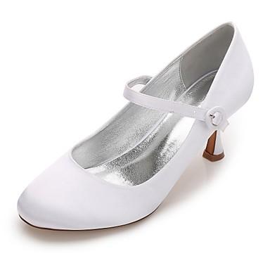 Női Cipő Szatén Tavasz / Nyár Magasított talpú / Mary Jane / Kényelmes Esküvői cipők Cicasarok / Alacsony / Tűsarok Kerek orrú
