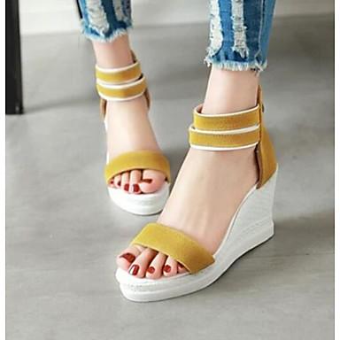 Damen Schuhe PU Sommer Komfort High Heels Für Normal Schwarz Beige Gelb Grün Rosa