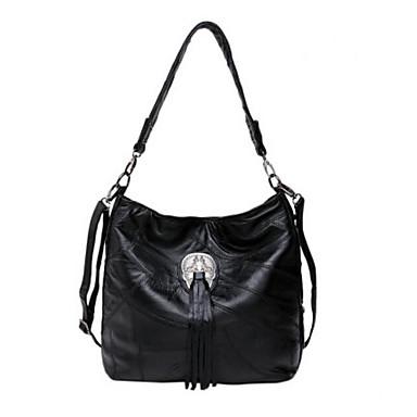 Damen Taschen Ganzjährig Kuhfell Umhängetasche für Normal Schwarz