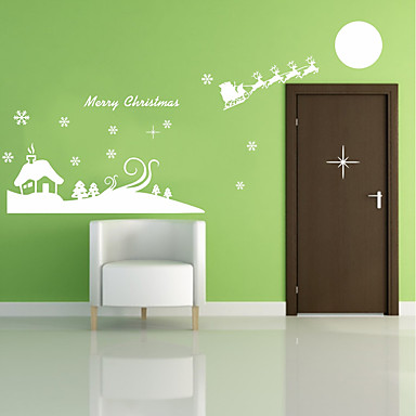 Romance Christmas Decorations Holiday Wall Stickers Plane Wall Stickers Decorative Wall Stickers, Plastic Home Decoration Wall Decal Wall