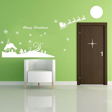 رومانسية كريستمس عطلة ملصقات الحائط لواصق حائط الطائرة لواصق حائط مزخرفة, بلاستيك تصميم ديكور المنزل جدار مائي جدار نافذة