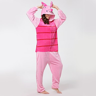 Adults' Kigurumi Pajamas Piggy / Pig Onesie Pajamas Flannel Fabric Cosplay For Men and Women Animal Sleepwear Cartoon Halloween Festival / Holiday